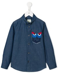 Fendi Kids Monster Button Down Shirt