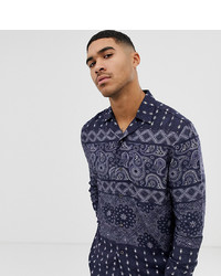 Mauvais Revere Shirt With Tile Print In Relaxed Fit