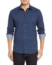 Bugatchi Shaped Fit Layered Print Sport Shirt
