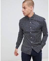 ASOS DESIGN Slim Stretch Smart Ditsy Line Work Shirt