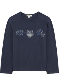 Navy Print Long Sleeve T-Shirt