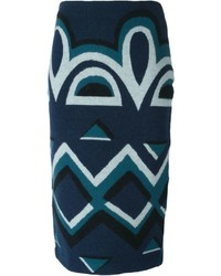 Burberry Prorsum Aztec Pattern Pencil Skirt