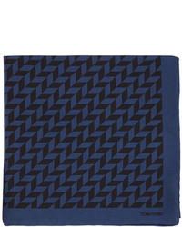 Tom Ford Geometric Print Silk Pocket Square Navyblack
