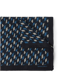 Boglioli Printed Silk Pocket Square