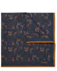 Drake's Printed Wool And Silk Blend Pocket Square