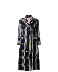 Thom Browne Chenille Banker Stripe Wool Cotton Overcoat