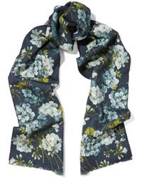 Gucci Reversible Printed Wool Scarf Blue