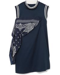 Sacai Paneled Cotton Jersey And Satin Mini Dress