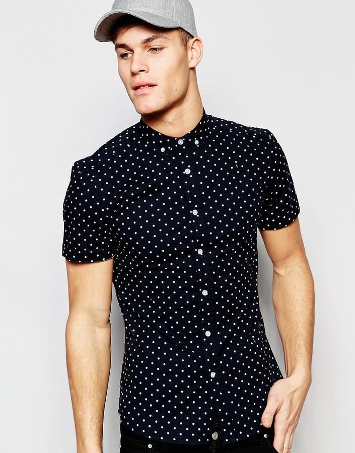 df593db56ee2 ... Navy Print Short Sleeve Shirts Asos Brand Skinny Shirt With Polka Dot  Print In Short Sleeve ...