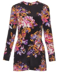 Mary Katrantzou Abstract Poppy Print Silk Crepe Playsuit