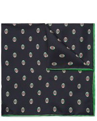 Gucci Logo Print Silk Twill Pocket Square