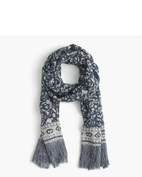 J.Crew Lightweight Wool Silk Scarf In Batik Leaf Print