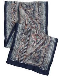 Wool silk scarf in woodblock print medium 92767