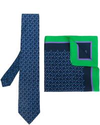 Etro Arrow Print Tie And Pocket Square Set