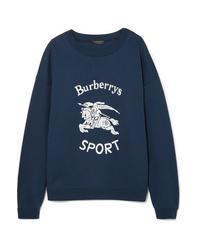 Burberry Flocked Cotton Blend Jersey Sweatshirt