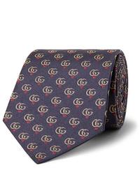 Gucci 75cm Logo Jacquard Silk Twill Tie