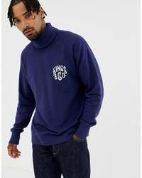 Kings Of Indigo Organic Roll Neck Sweatshirt In Navy