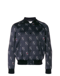Saint Laurent Sl Playing Card Print Varsity Jacket