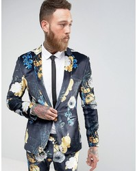 Asos Super Skinny Suit Jacket In Navy Velvet With Bright Floral Print
