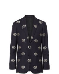 Burberry Slim Fit Fil Coup Crest Wool Tailored Jacket