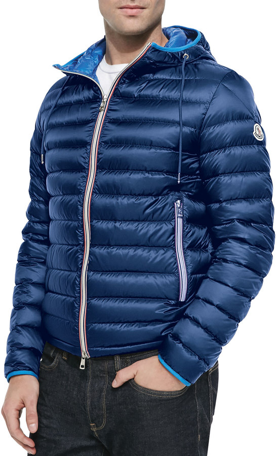 ... Navy Puffer Coats Moncler Athenes Hooded Puffer Jacket Blue