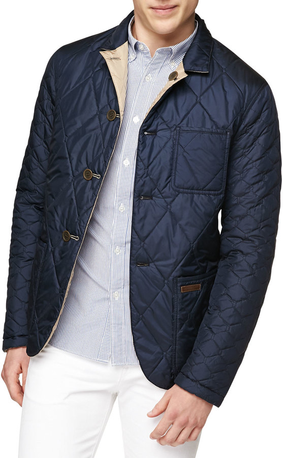 4958e5500d5 Burberry Burberry Brit Reversible Quilted Nylon Jacket, Navy/Camel ...