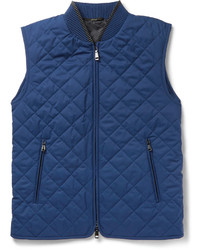 Leather trimmed quilted silk gilet medium 1160950