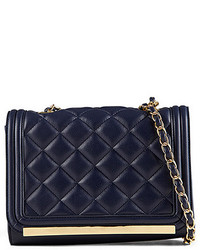 Navy Quilted Leather Crossbody Bag