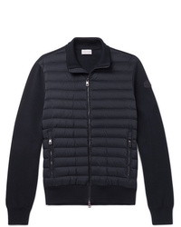 Moncler Slim Fit Panelled Cotton Blend Jersey And Quilted Shell Down Zip Up Sweater