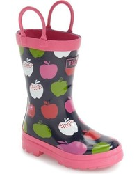 Hatley Girls Nordic Apples Waterproof Rain Boot