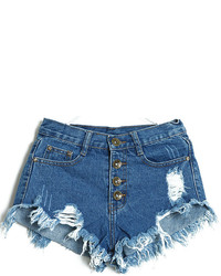 Navy Ripped Denim Shorts