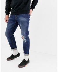 ASOS DESIGN 125oz Tapered Jeans In Dark Wash Blue With Rips
