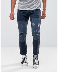 ASOS DESIGN Asos Slim Jeans In Blue Cord With Rips And Patches