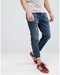 ASOS DESIGN Asos Tapered Jeans In 17oz Vintage Dark Wash With Abrasions