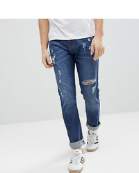 Brooklyn Supply Co. Brooklyn Supply Co Tapered Jeans With Thigh Rip In 90s Blue