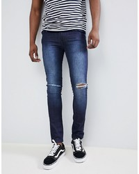 LOYALTY & FAITH Loyalty And Faith Siret Super Skinny Jeans With Ripped Knees In Dark Wash