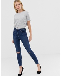 ASOS DESIGN Ridley High Waist Skinny Jeans In Dark Wash Blue With Ripped Knee Detail