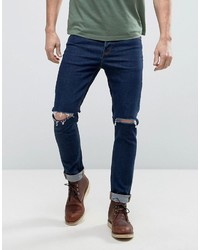 Skinny 125oz jeans with rips in dark blue medium 1327488