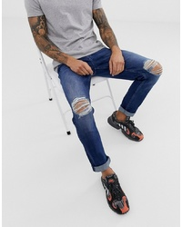 ASOS DESIGN Stretch Slim Jeans In Dark Wash Blue With Knee Rips