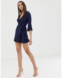 Outrageous Fortune Ruffle Wrap Dress With Fluted Sleeve In Navy