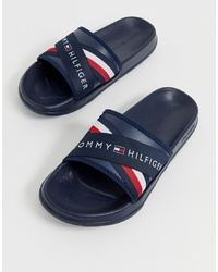 Tommy Hilfiger Splash Slider With Crossover Logo And Icon Stripe In Navy