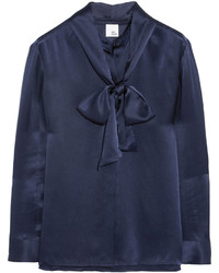 Navy Satin Long Sleeve Blouse