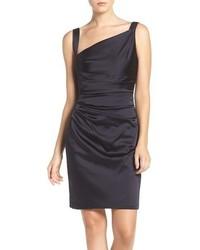 Vera Wang Asymmetrical Satin Sheath Dress