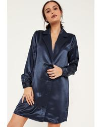 Missguided Blue Satin Double Button Curve Hem Dress