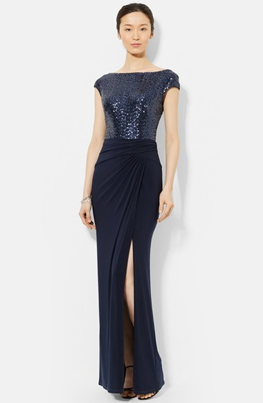 Lauren Ralph Lauren Sequin Jersey Gown Where To Buy How To Wear