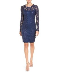 Navy Sequin Sheath Dress