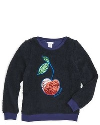 Little Marc Jacobs Girls Faux Fur Cherry Pullover