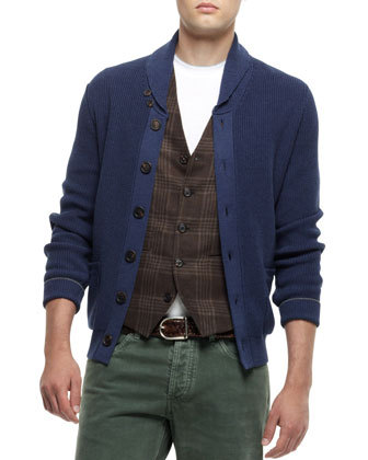 Brunello Cucinelli Buttoned Shawl Collar Cardigan Navy