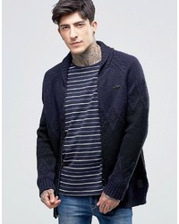 Scotch & Soda Cardigan With Shawl Neck In Navy