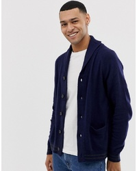 J.Crew Mercantile Nylon Wool Contrast Rib Cardigan In Navy